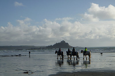 Horse Riding at Mount's Bay, Marazion, Cornwall